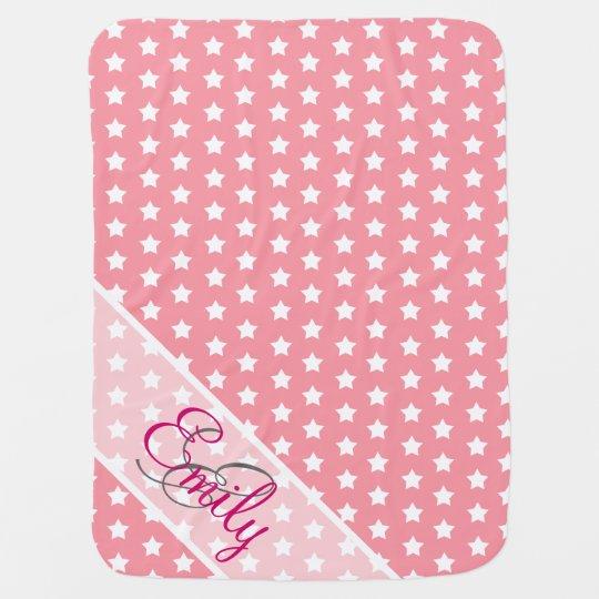 Monogram Cute White Stars Pattern Girly Pink Pramblanket