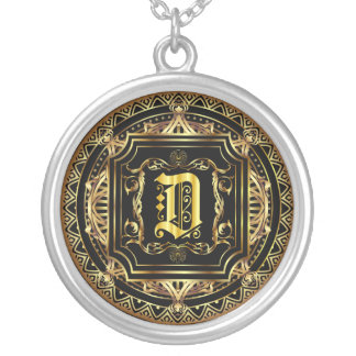 Monogram D Customize Edit Change Background Color Silver Plated Necklace