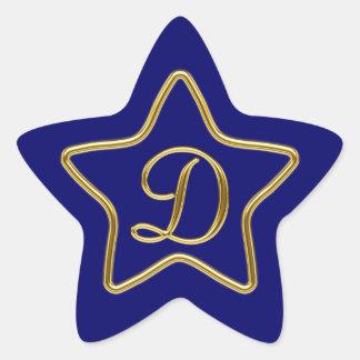 Monogram D in 3D gold Star Sticker