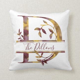Monogram D - Watercolor - Personalised Cushion