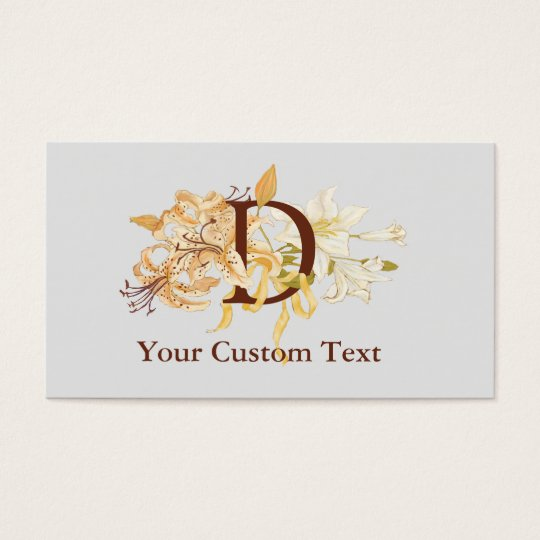 Monogram D with Vintage Lilies Template Business Card