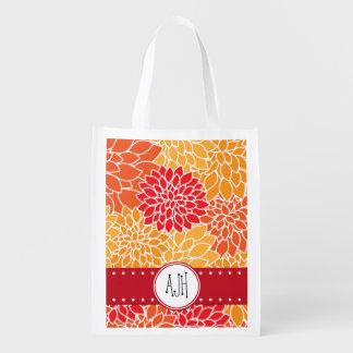 Monogram - Dahlia Flowers, Blossoms - Orange Red Reusable Grocery Bag