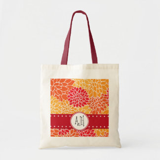 Monogram - Dahlia Flowers, Blossoms - Orange Red Tote Bag