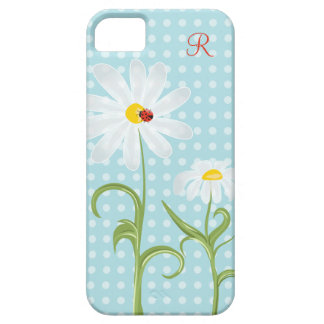 Monogram Daisies and Lady Bug Polka Dot Blue iPhone 5 Cover