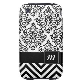 Monogram Damask Chevron Deluxe Designer iPhone 3 Tough Cover