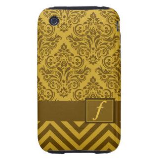 Monogram Damask Chevron Deluxe Designer Tough iPhone 3 Case