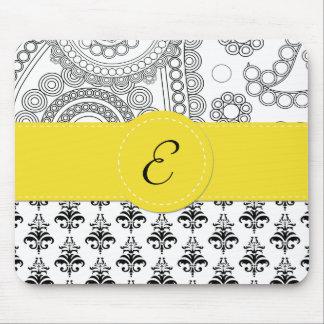 Monogram - Damask, Circles - Black White Yellow Mouse Pad