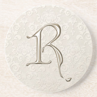 Monogram Damask coasters - letter R