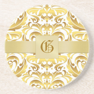 Monogram Damask Holiday Drink Coaster