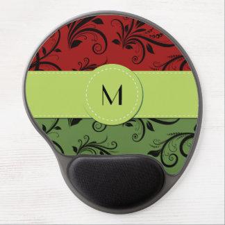 Monogram - Damask, Ornaments - Green Black Red Gel Mousepad