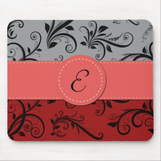 Monogram - Damask, Ornaments - Red Black Gray Mousepad
