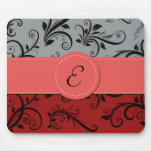 Monogram - Damask, Ornaments - Red Black Grey Mousemats