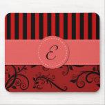 Monogram - Damask, Ornaments, Stripes - Red Black Mouse Mat
