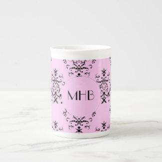 Monogram - Damask, Ornaments, Swirls - Pink Black Tea Cup