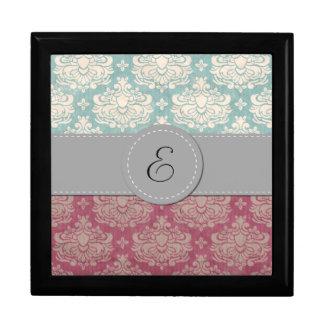 Monogram - Damask, Ornaments, Swirls - Pink Gift Box