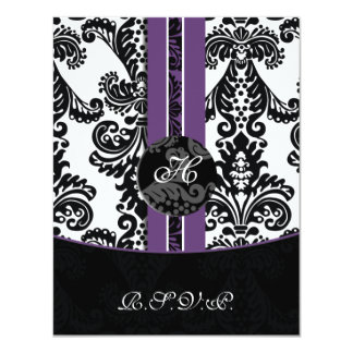 monogram damask purple rsvp cards invitation