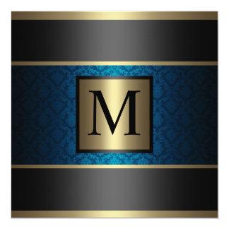 Monogram Damask Royal Blue, Black and Gold 13 Cm X 13 Cm Square Invitation Card