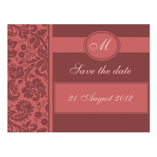 Monogram Damask Save the Date, Any Colour Postcard