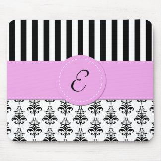 Monogram - Damask, Stripes - Black White Pink Mouse Pads