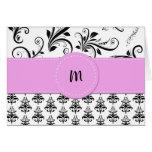 Monogram - Damask, Swirls - Black White Pink Greeting Card