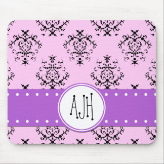 Monogram - Damask, Swirls - Pink Black Purple Mousepad