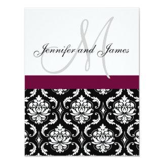 Monogram Damask Wedding Invitations