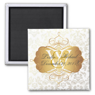 Monogram Damask Wedding, Magnets