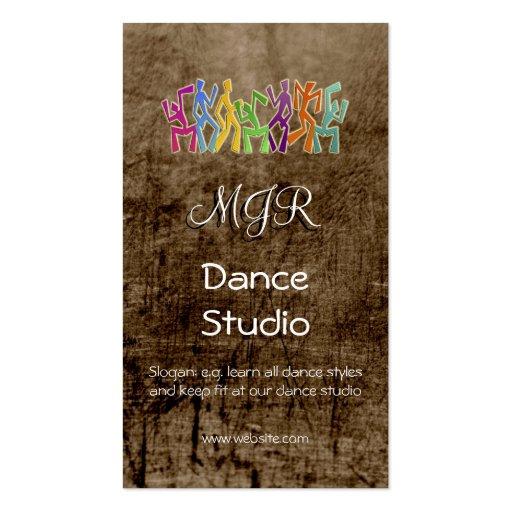 Monogram, Dance Studio, leather-effect Business Card Templates