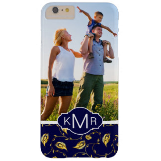 Monogram | Dark Blue Peacock Pattern Barely There iPhone 6 Plus Case
