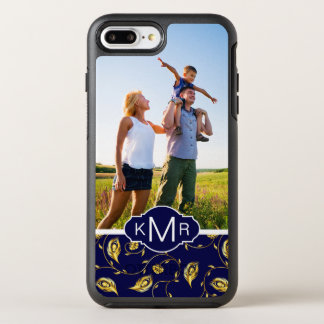 Monogram | Dark Blue Peacock Pattern OtterBox Symmetry iPhone 8 Plus/7 Plus Case