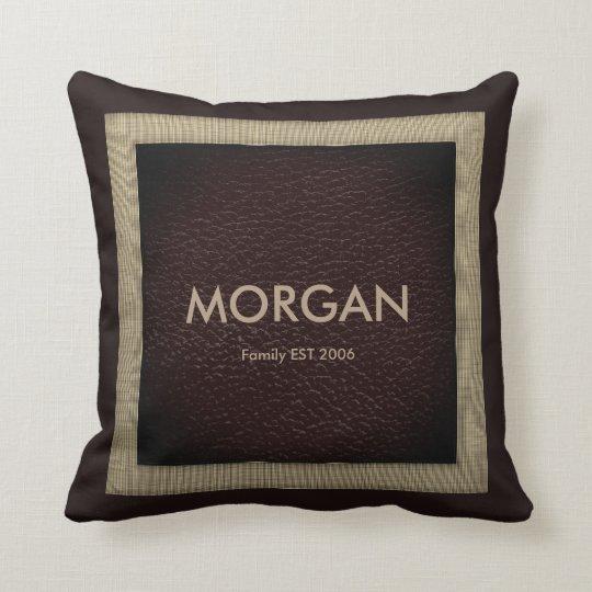 Monogram Dark Brown Faux Leather Throw Pillow