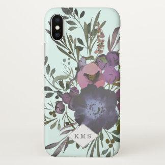 Monogram Dark Floral Bouquet Wreath Case