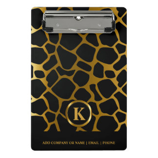 Monogram Dark Gold and Black Giraffe Pattern Mini Clipboard