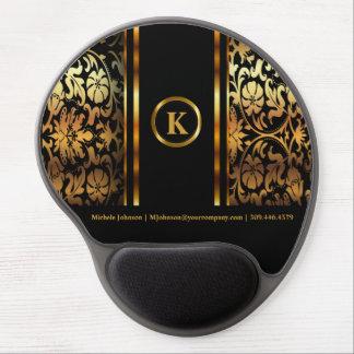 Monogram Dark Gold & Black Floral Damask Gel Mouse Pad