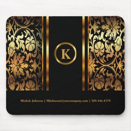 Monogram Dark Gold & Black Floral Damask Mouse Mat