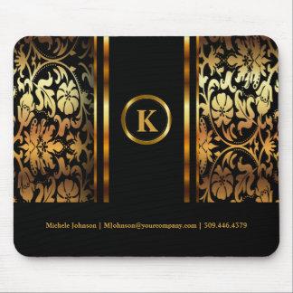 Monogram Dark Gold & Black Floral Damask Mouse Pad
