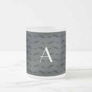 Monogram dark gray mustache pattern coffee mugs