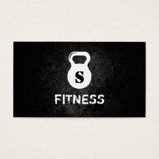 Monogram Dark Grunge Professional Fitness Business Card