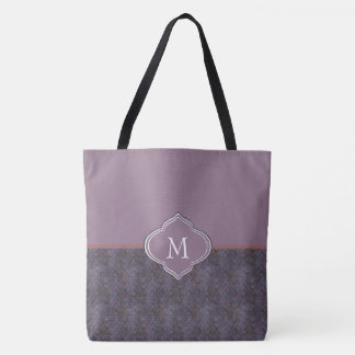 Monogram Dark Purple Grunge Waves Tote Bag