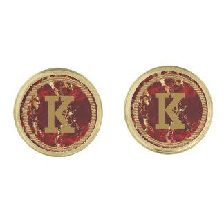 Monogram Dark Red and Gold Marble Gold Finish Cufflinks