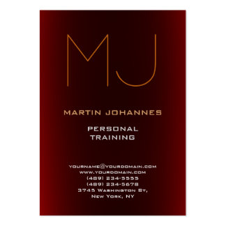 Monogram Dark Red Sport Personal Trainer Pack Of Chubby Business Cards