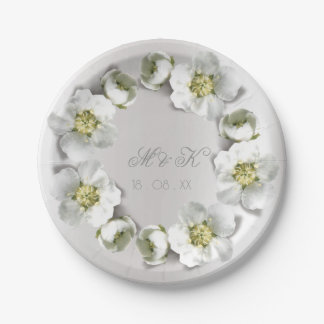 Monogram Date  Silver Gray Pearly Floral Wreath Paper Plate