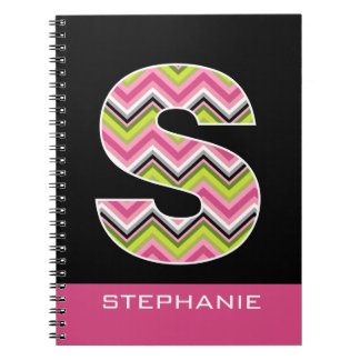 "Monogram Decorative Letter ""S"" Colorful Chevrons Spiral Notebook"