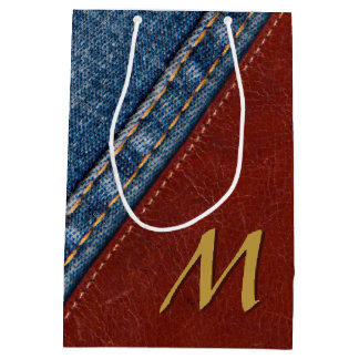 Monogram Denim and Leather Medium Gift Bag