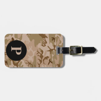 Monogram Desert Military Camo Camouflage Circle Luggage Tag