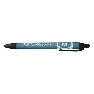Monogram design black ink pen
