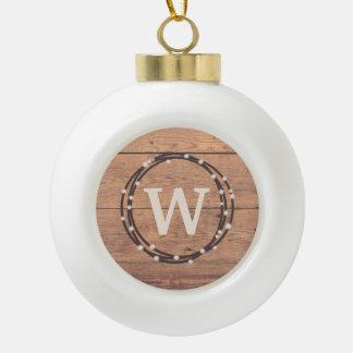 Monogram design ceramic ball christmas ornament