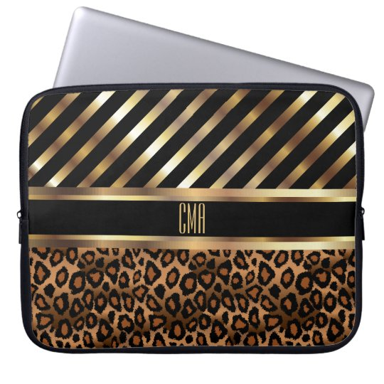 Monogram Design | Gold Stripes and Leopard Skin