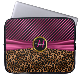 Monogram Design | Pink and Gold Leopard Skin Laptop Sleeve