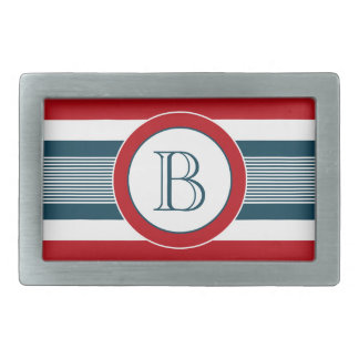 Monogram design rectangular belt buckles